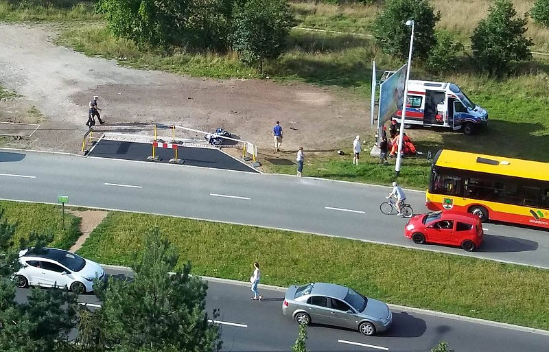 Wypadek motocyklisty