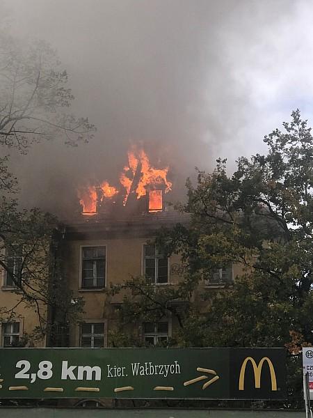 Płonie były szpital w Świdnicy