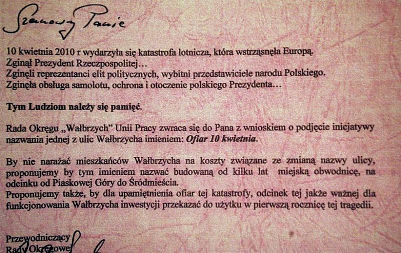 Ulica ofiar katastrofy smoleńskiej w Wałbrzychu?