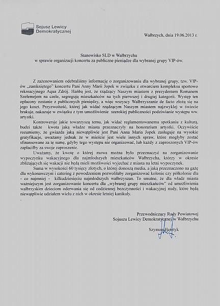 Opozycja o koncercie Anny Marii Jopek