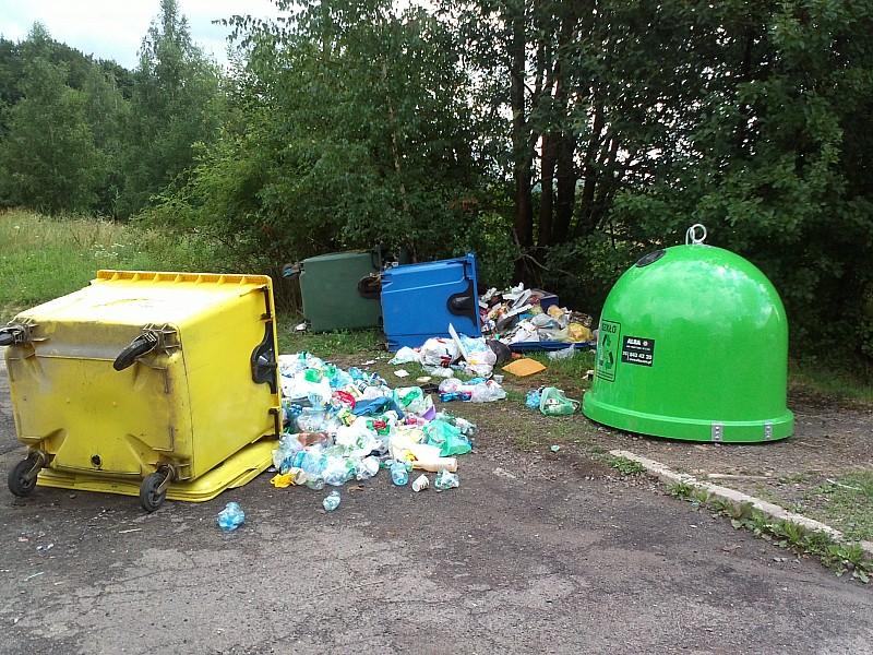 Przewrócili pojemniki na śmieci